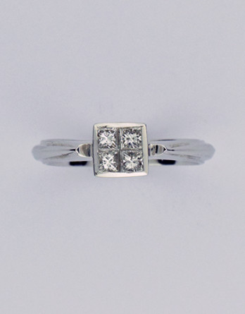 "14kt White Gold Diamond Engagement Ring With 4 Invisible Set Princess Cut Diamonds ""G-H"" SI1-SI2 Weighing .39ct Total $1,295.00 NOW 40% OFF"