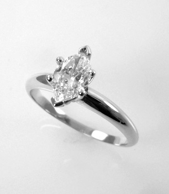 "14kt White Gold Diamond Engagement Ring With .82ct ""I"" SI1 Marquise Shape Diamond $4,295.00 NOW 40% OFF"
