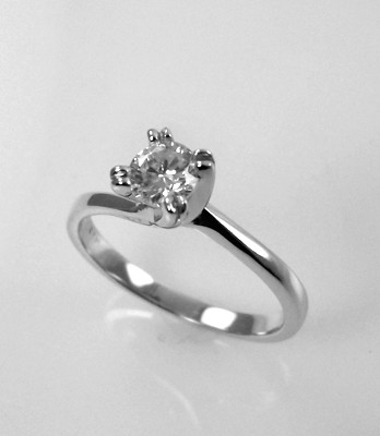 "14kt White Gold Engagement Ring With .36ct ""G"" SI2 Round Brilliant Cut Center Diamond $1,500.00 NOW 40% OFF"
