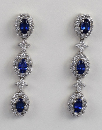 "14kt White Gold With 2.31ct in ""H"" SI1 Diamonds & 1.45ct in Sapphires. Earrings Measure 36.6mm X 7mm $5,995 50% OFF Sale"