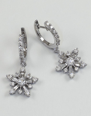 "18kt White Gold Diamond Earrings With 1.79ct in ""G-H"" SI1-SI2 Round Brilliant Cut Diamonds Sale"
