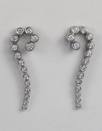 "18kt White Gold Diamond Earrings With .72ct in ""G-H"" SI1-SI2 Round Brilliant Cut Diamonds SALE"