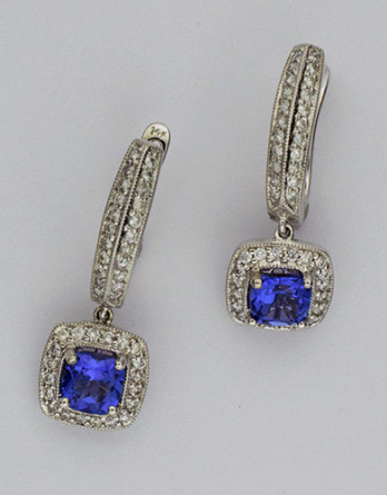 "14kt White Gold Tanzanite & Diamond Earrings With 1.52ct in Tanzanites & .50ct in ""G-H"" SI1-SI2 Round Brilliant Cut Diamonds SALE"