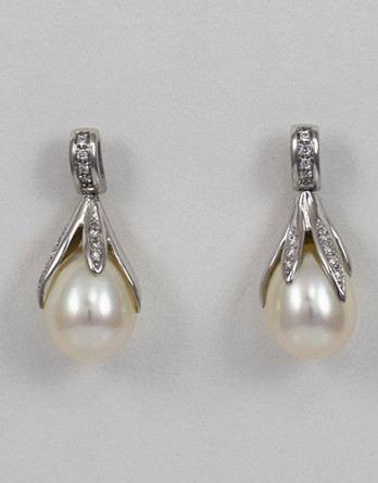 "14kt White Gold Pearl & Diamond Earrings With 8.75mm Freshwater Cultured Pearls & .11ct in ""G"" SI1 Diamonds SALE"