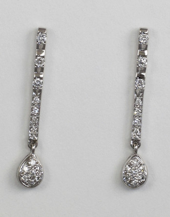 """14kt White Gold Diamond Dangle Earrings With .43ct in """"G-H"""" SI1-SI2 Diamonds"""