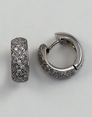 "14kt White Gold Pave Set Diamond Hoop Earrings With .82ct in ""G-H"" SI1-SI2 Diamonds"