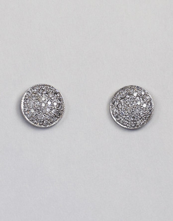 """14kt White Gold Pave Set Diamond Earrings With .50ct in """"G-H"""" SI1-SI2 Diamonds"""
