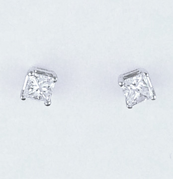 Princess Cut Diamond Stud Earrings Weighing .50ct Total Weight With H Colors & SI2 Clarities Set in 14kt White Gold, Screw Backs