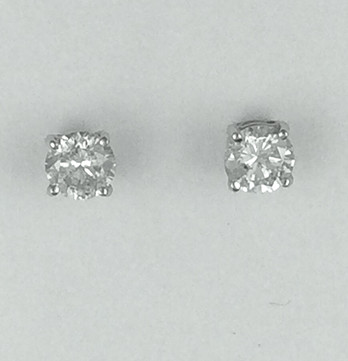 Round Brilliant Cut Diamond Stud Earrings Weighing .76ct Total With H Colors & I1 Clarities Set in 14kt White Gold, Screw Backs