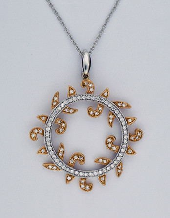 """14kt White & Rose Gold Diamond Circle Pendant With .65ct in """"G-H"""" SI1-SI2 Diamonds"""