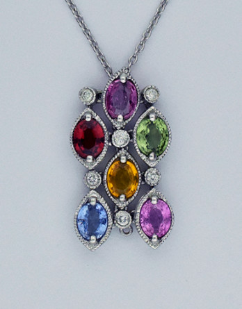 "14kt White Gold With .12ct in ""G-H"" SI2 Diamonds & 2.58ct in Colored Sapphires on a 16"" 14kt White Gold Chain"