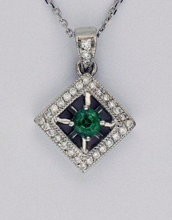 "14kt White Gold Emerald & diamond Pendant With .17ct in ""G-H"" SI1-SI2 Diamonds & 4.0mm Genuine Emerald on a 18"" 14kt White Gold Chain"