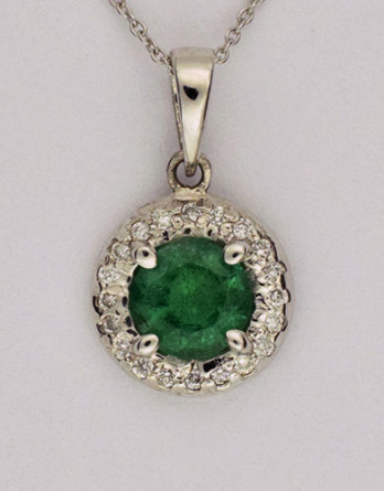 "14kt White Gold Emerald & Diamond Pendant With .56ct Genuine Emerald and .10ct H-I SI1-SI2 Diamonds on a 16"" 14kt White Gold Chain"