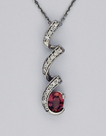 "14kt White Gold Diamond Pendant With a 1.13ct Oval Fancy Pink Sapphire & .26ct in ""G-H"" SI1-SI2 Diamonds on a 16"" 14kt White Gold Chain"
