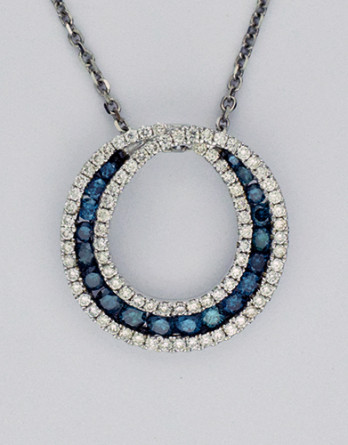 """14kt White Gold Pendant With 1.47ct in Teal and White Diamonds. White Diamonds are """"G-H"""" SI1_SI2 Teal Diamonds are SI2 on a 16"""" 14kt White Gold Chain"""
