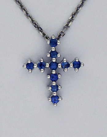 """14kt White Gold Cross With 10 Round Blue Sapphires .25ct on a 16"""" 14kt White Gold Chain"""