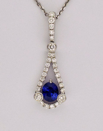 "18kt White Gold Pendant With .24ct in ""G-H"" SI1-SI2 Diamonds & a .50ct Blue Sapphire on a 16"" 14kt White Gold Chain $2,500 Now 50% OFF"