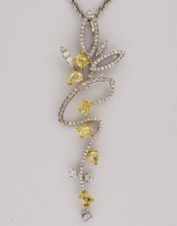 18kt White Gold Natural Yellow & White Diamond Pendant With .68ct in Yellow Diamonds & .39ct in White Diamonds on a 17 inch 18kt White Gold Chain