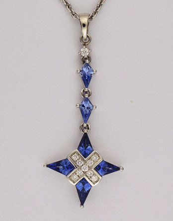 "18kt White Gold Pendant With 1.16ct in Kite Shape Blue Sapphires & .09ct in ""G-H"" SI1-SI2 Diamonds on a 16"" 14kt White Gold Chain"