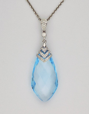 "18kt White Gold Pendant With 18.02ct Blue Topaz & .17ct in ""G-H"" SI1-SI2 Diamonds on a 16"" 14kt White Gold Chain"