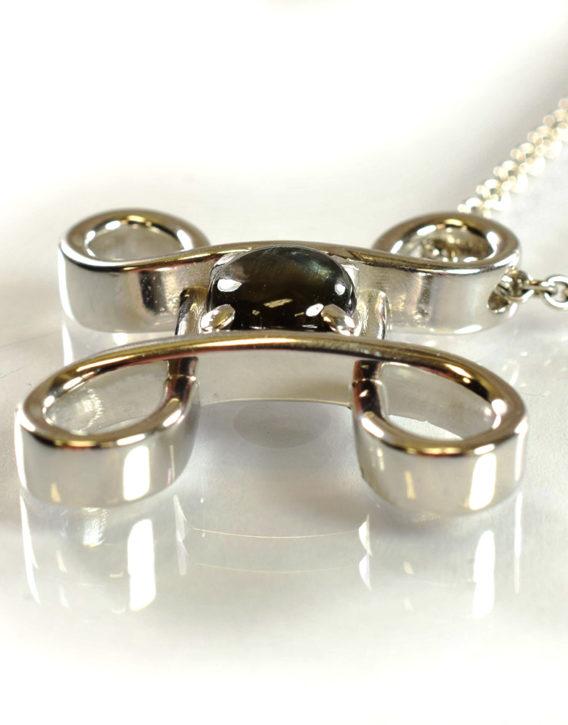Genuine black star sapphire pendant in 14kt white gold amore genuine black star sapphire pendant in 14kt white gold aloadofball Choice Image