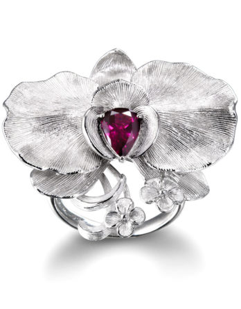 Ariva Fine Jewelry Orchid Silver Garnet Ring