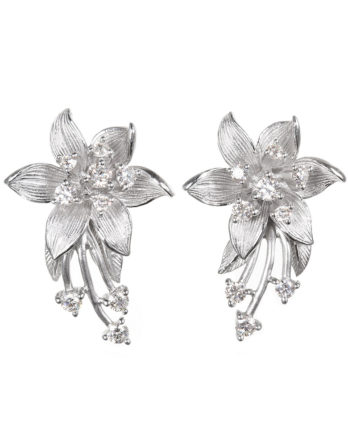 Ariva Fine Jewelry Silver Floral Earrings