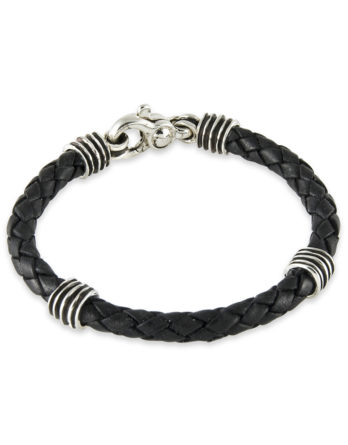 Zina Sterling Silver Men's Leather Bracelet
